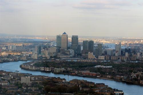 Sunny London View Shard Canary Wharf