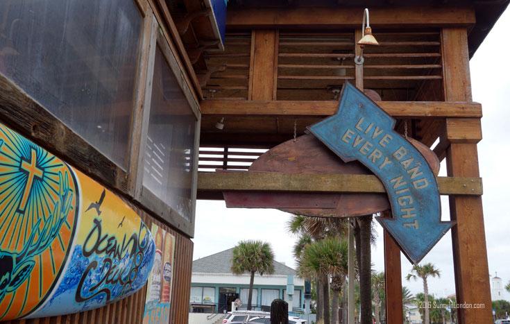 Eating Gator Bites at Ocean Deck, a beach bar in Daytona Beach, Florida