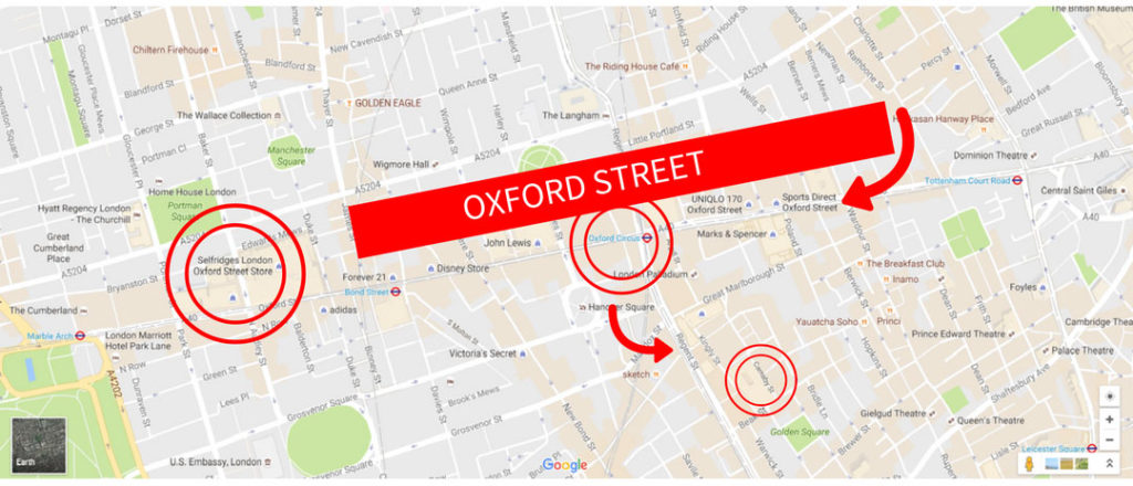 Shopping in London Guide Oxford Street Regent Street Selfridges Map
