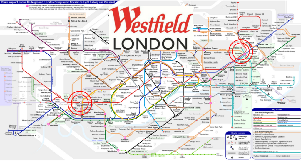 Shopping in London Guide Westfield malls on underground map